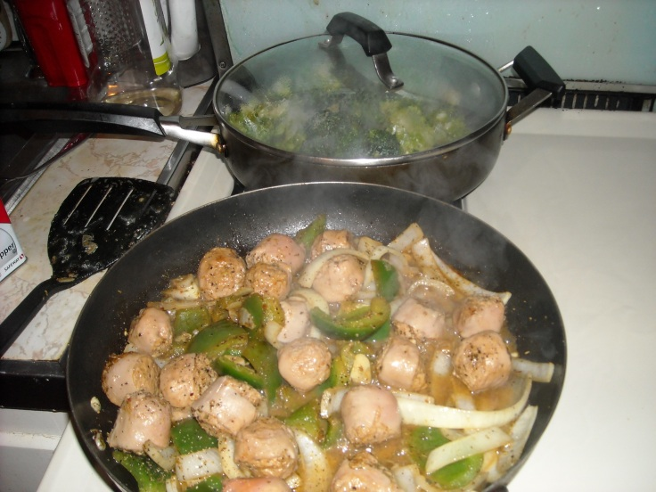 Turkey Sausage and Peppers and Stir Fried Broccoli